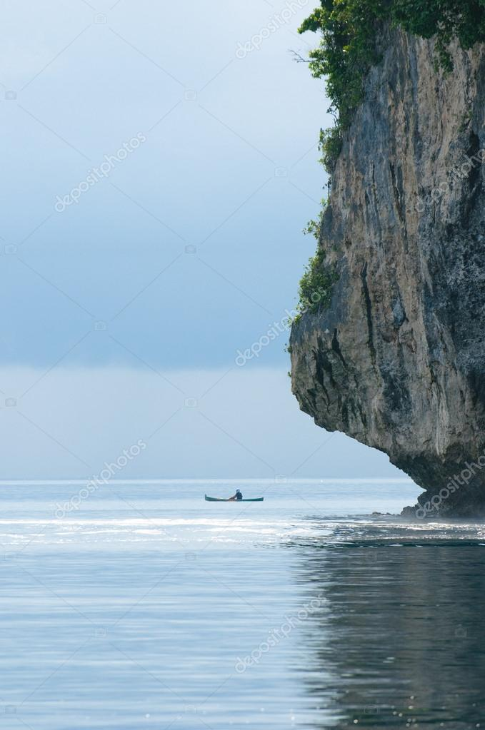 Fisherman in a boat, Banda sea, Indonesia