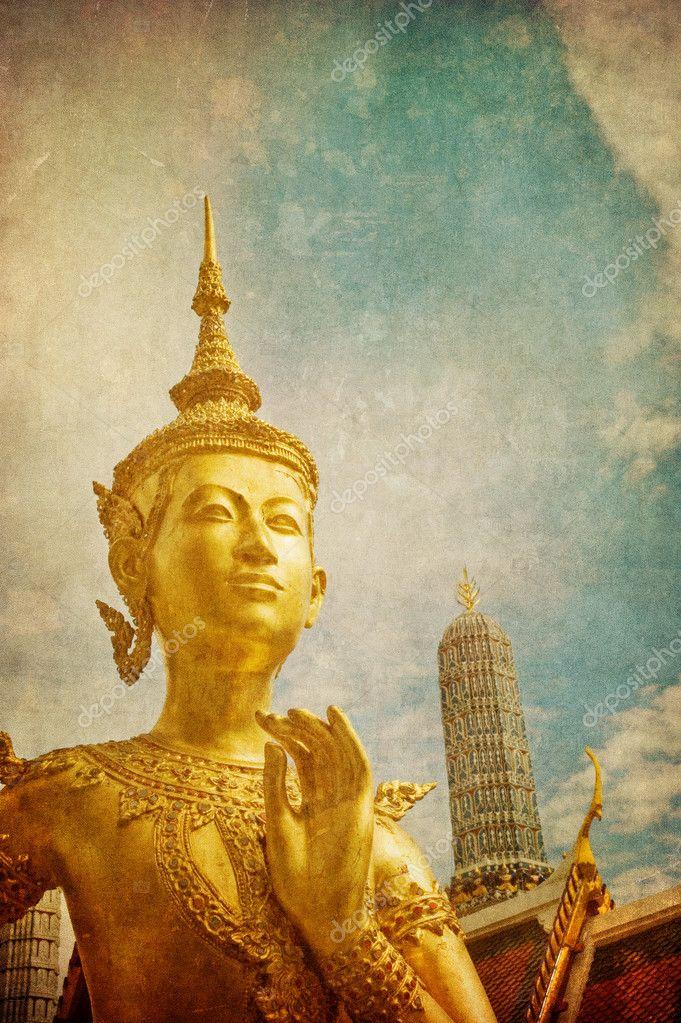 Vintage image of Kinnari statue at Wat Phra Kaew, Bangkok