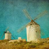 Fotografie Vintage Bild von Windmühlen in Consuegra, Spanien