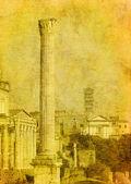 Photo vintage image of roman ruins, rome, italy