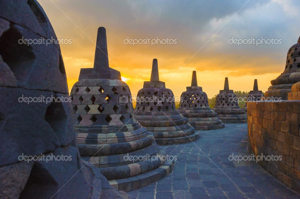 borobudur temple at sunrise java indonesia stock photo