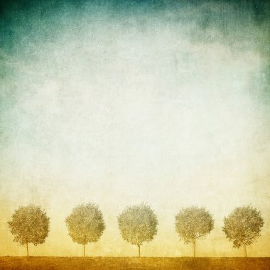 Grunge image of trees over grunge background stock vector