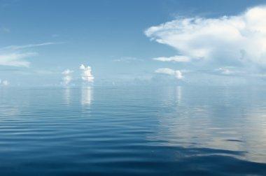 Ocean and blue cloudy sky