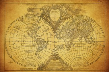 Vintage map of world