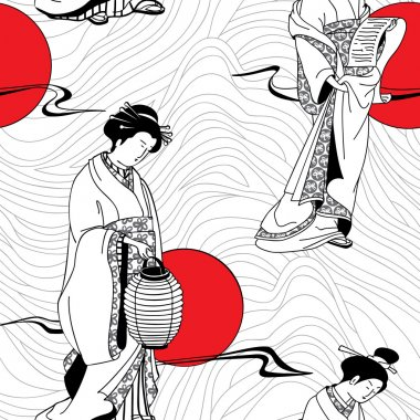 Vector of traditional Japanese Geisha seamless pattern