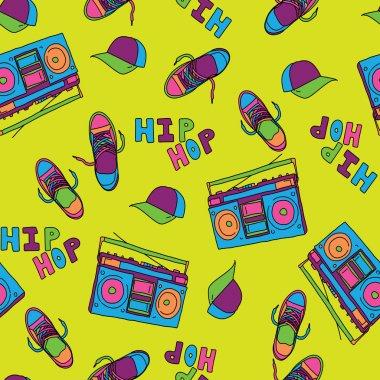 Hip hop music seamless pattern