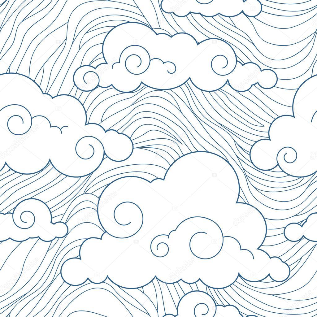Seamless stylized clouds pattern