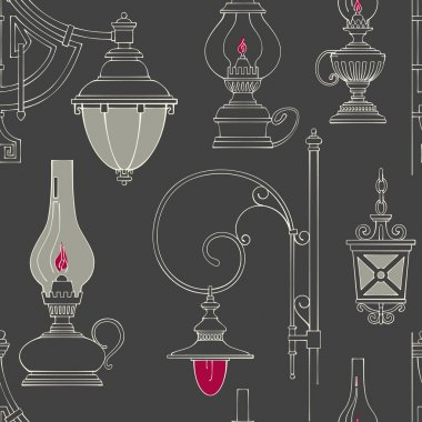 Vector vintage lamp seamless pattern