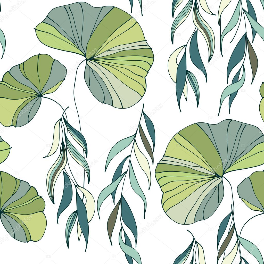 lily willow branches seamless pattern background