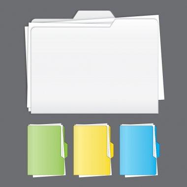 Colorful tabbed folder vector set