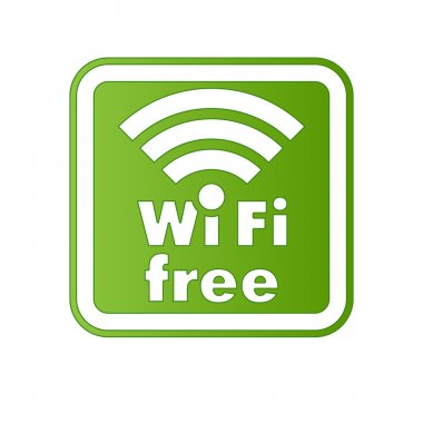 Free wifi and Internet sign with square border