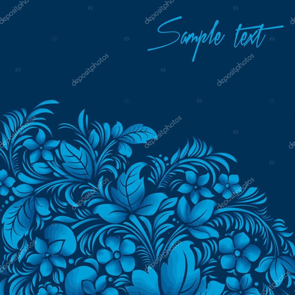 Blue flower ornament, gzhel russian style