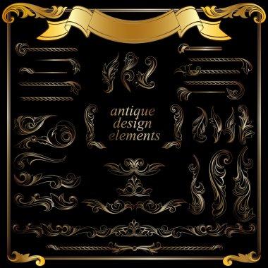 gold calligraphic design elements, decoration set