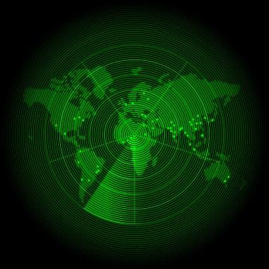 green world map with a radar screen