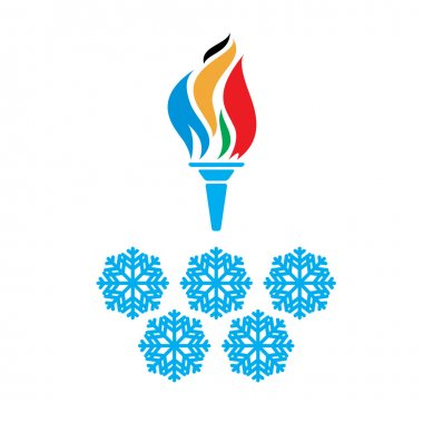 Olympic symbols torch and rings vector