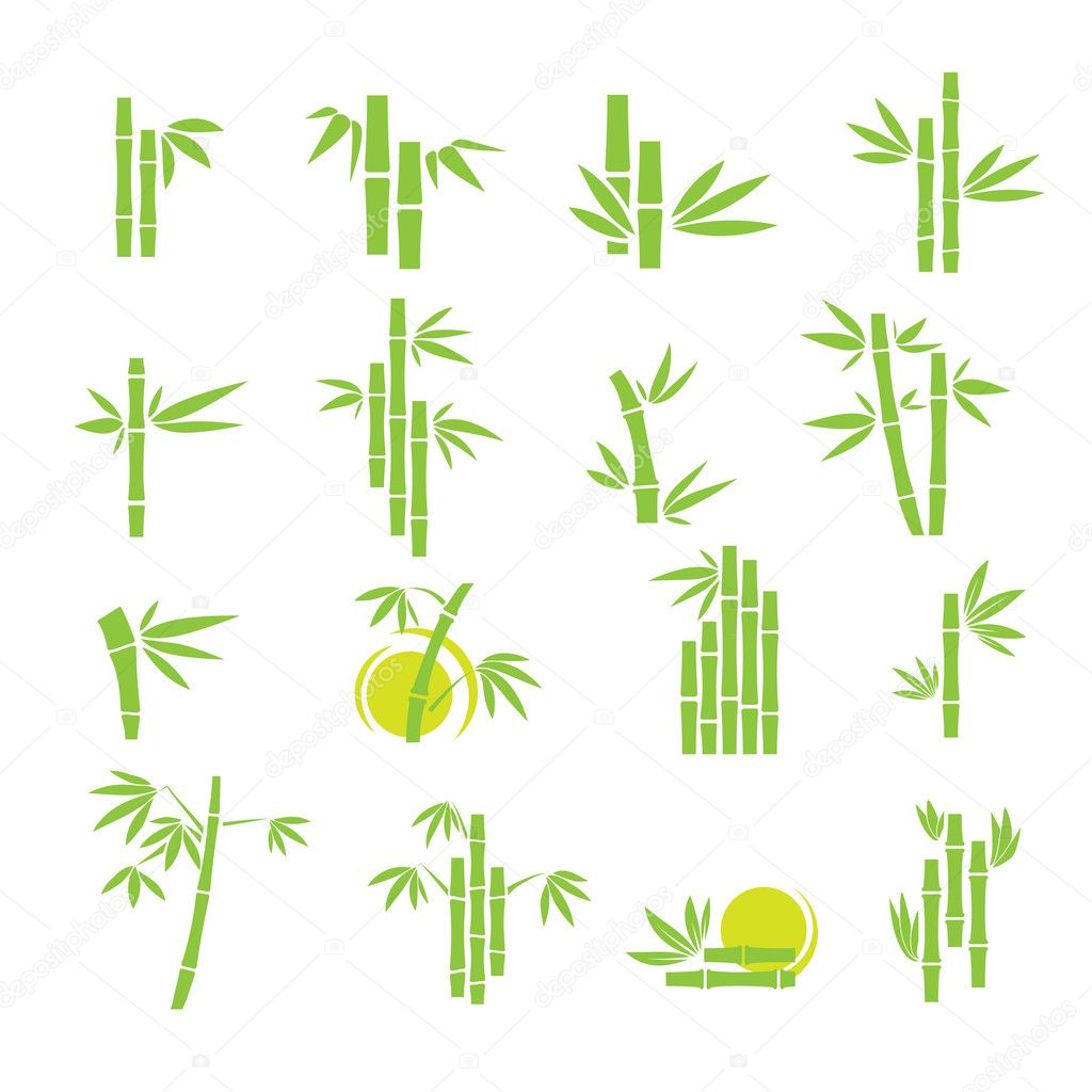 Bamboo vector symbol icons set