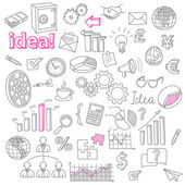 Fotografie Hand Drawn Business Doodles vector set