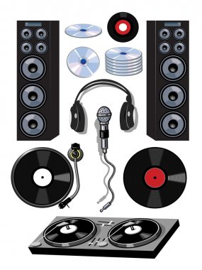 Turntable DJ Items Cartoon