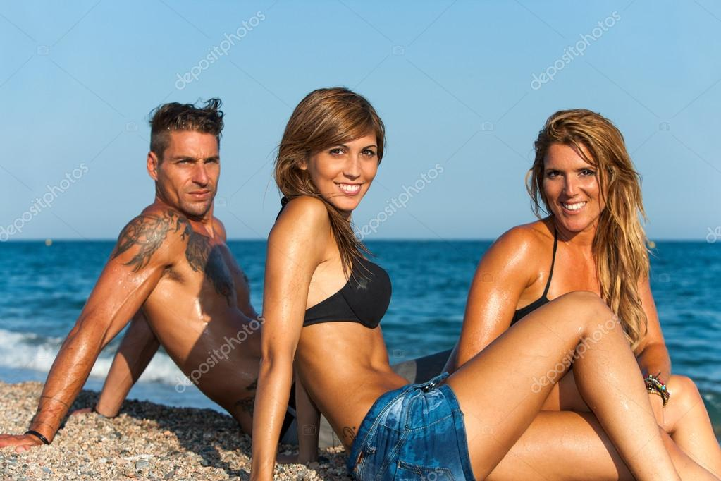 Pics of threesome at the beach