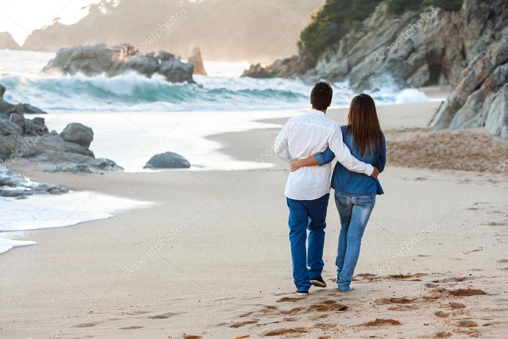 Romantic walk along the beach.