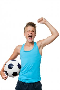 Teen soccer player with winning attitude.