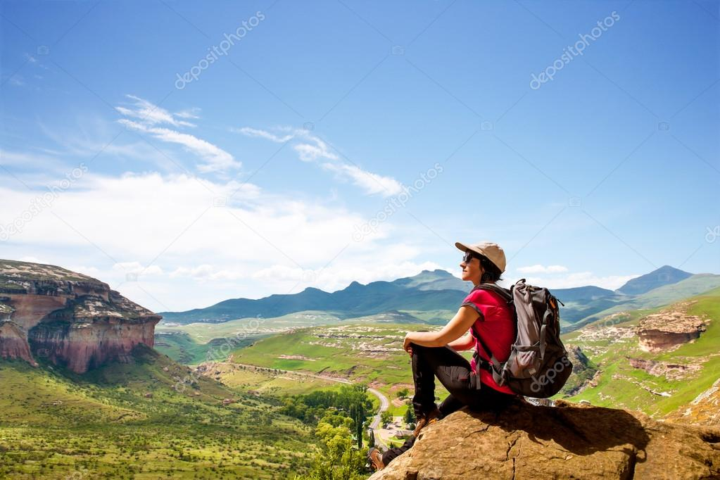 female hiker in mountains.