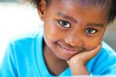 Extreme Nahaufnahme Porträt eines afrikanischen Kindes.
