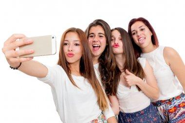 Group of girlfriends taking selfie.