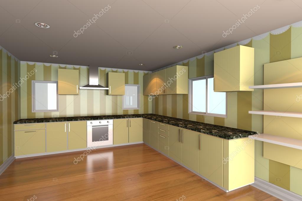 Salle de cuisine avec papier peint jaune — Photographie ...