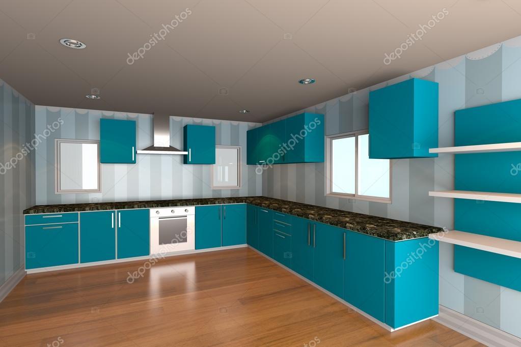 salle cuisine avec papier peint bleu — Photographie sumetho © #21698567