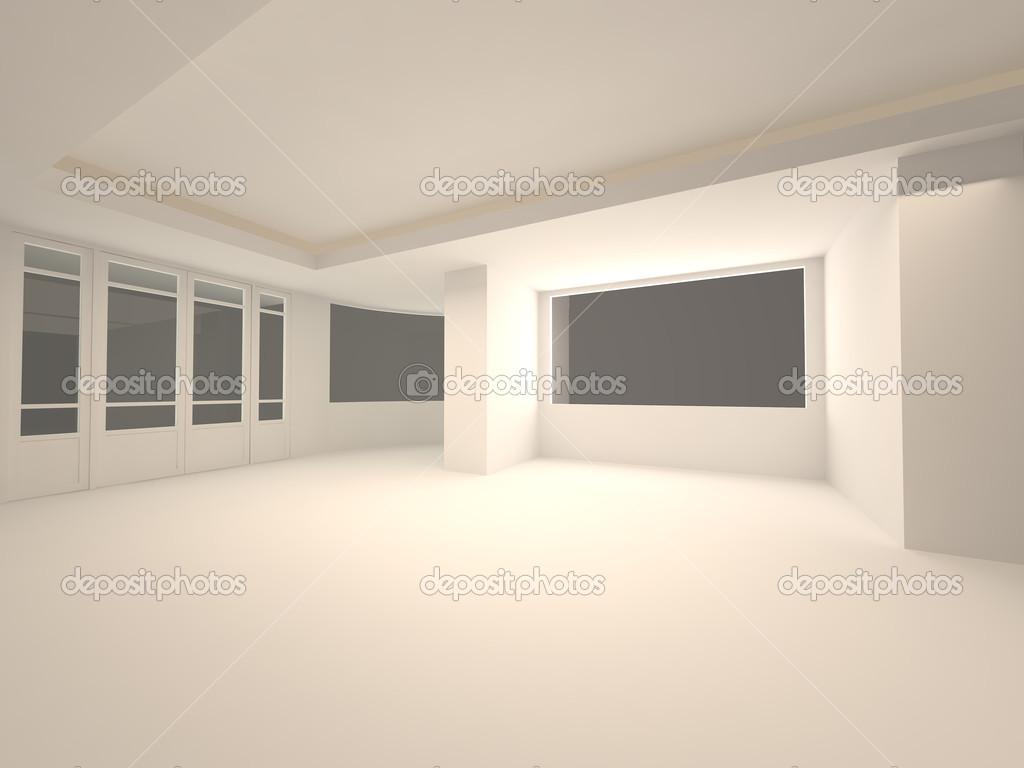 Empty Room Interior Night Scene Stock Photo
