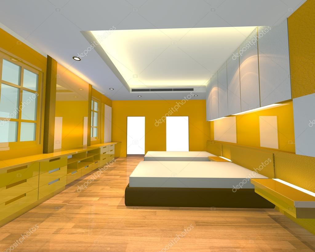 tema di ineterior design camera da letto giallo — Foto Stock ...