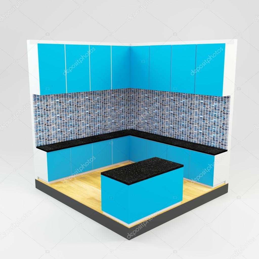 Elegant Blaue Küche Zimmer Mit Edelsteine Stein Mosaik Wand Und Holzboden U2014 Foto  Von Sumetho