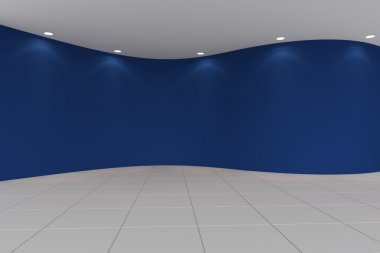 curve blue empty room