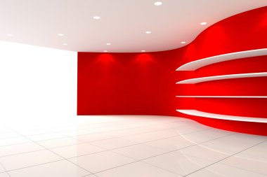 Curve Red Wall Empty Room with Shelves