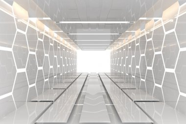 Futuristic white hexagon room