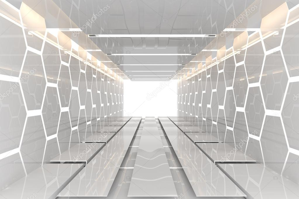Futuristic white hexagon room