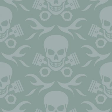 Skull and Pistons Seamless Background