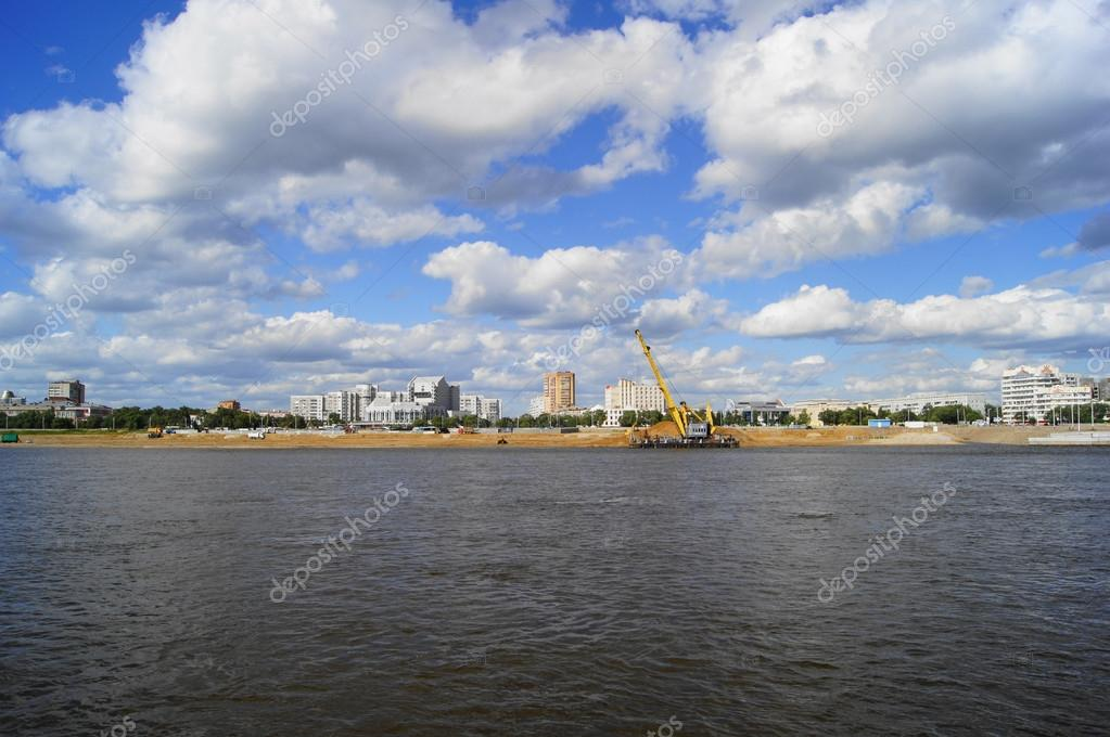Town of Blagoveshchensk. View from the Amur River on a summer cloudy day