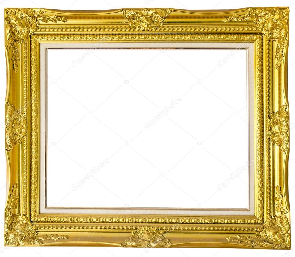 marco dorado antiguo aislado sobre fondo blanco — Foto de stock ...