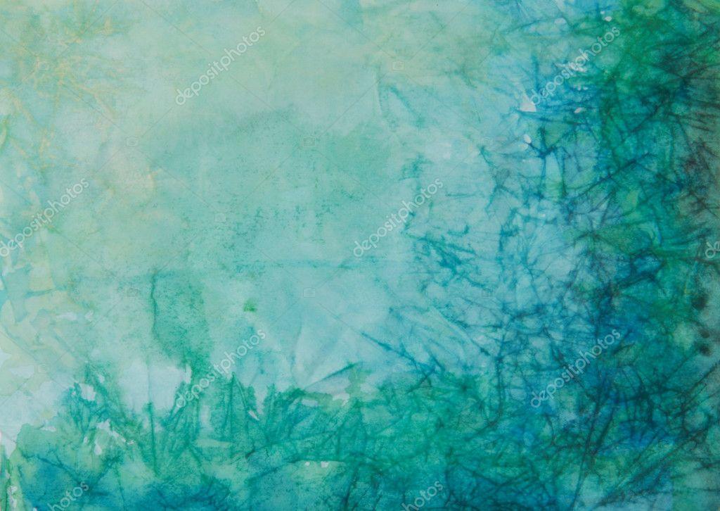 papel con azul, verde y negro pintura abstracta — Fotos de Stock ...