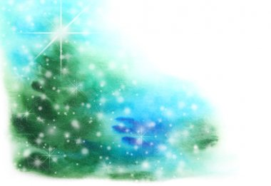 Abstract hand drawn watercolor background: Christmas tree, blue sky, and sn