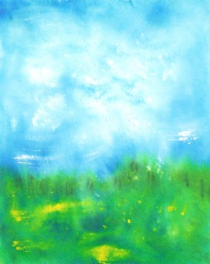 Abstract hand drawn watercolor background: summer landscape with blue sky,