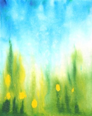 Abstract hand drawn watercolor background: blue sky, green grass and yellow