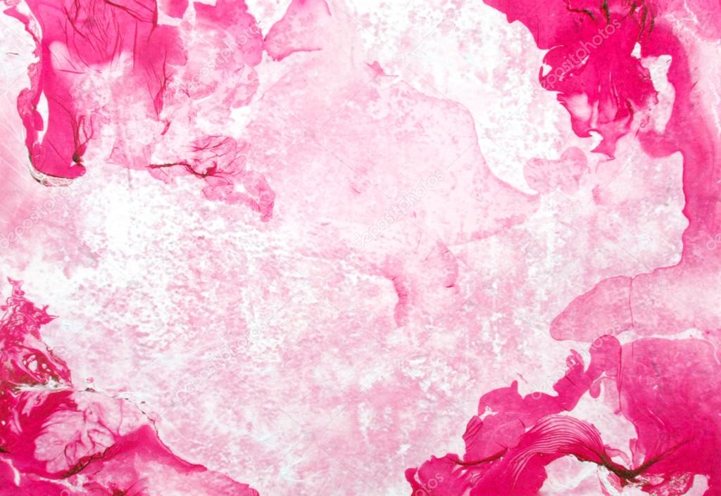 Abstract hand drawn paint background: red floral patterns on pink backdrop
