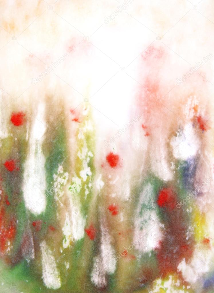 Abstract hand drawn paint background: red and green floral patterns