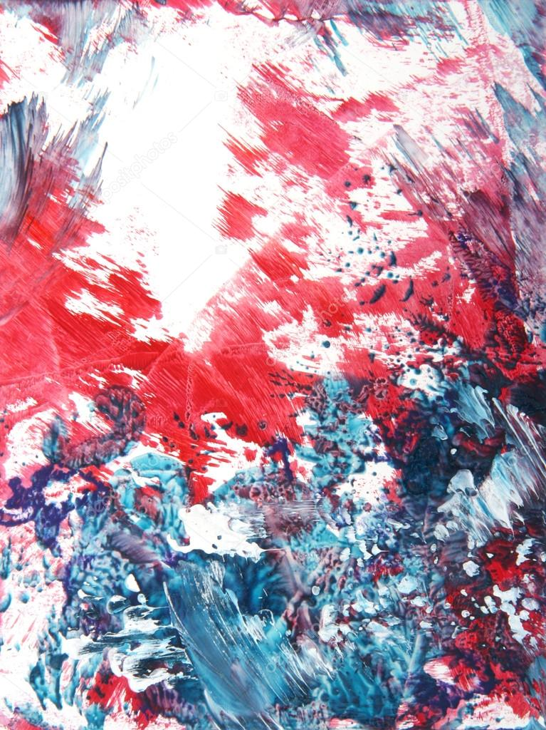 Abstract hand drawn paint background: red and blue floral ...