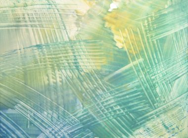 Abstract hand drawn paint background: blue, green, and yellow futuristic pa