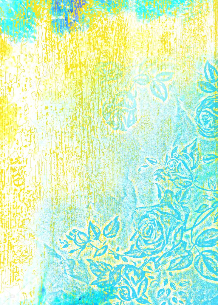 Abstract textured background: blue roses / floral patterns on white backdrop