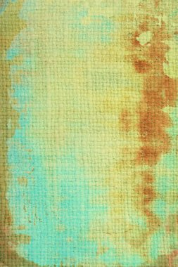 Old canvas: abstract textured background with blue, yellow, and brown patterns
